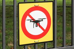 No drone zone sign. On a fence stock images