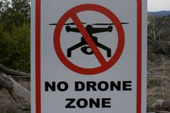 No Drone Zone sign. In a park stock photo