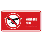 No drone zone sign - quadcopter flights prohibited Royalty Free Stock Image