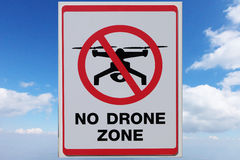 No Drone Zone Sign. On sky background stock images