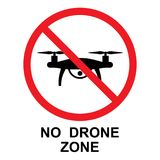 No Drone Zone sign, vector isolated Royalty Free Stock Image