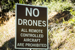 No Drones Allowed Sign. Warning sign for no drones or all remote controlled aircraft royalty free stock image