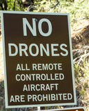 No Drones Allowed Sign. Warning sign for no drones or all remote controlled aircraft royalty free stock images