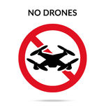 No drones sign. Drone flights limitations in public places, park Stock Image