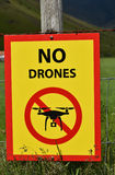 No drones. Sign on farmland in iceland stock photo