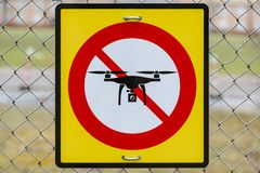 No drones sign on fence. royalty free stock photos