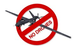 No Drones Sign Isolated Stock Image