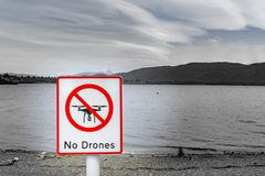 No drones sign. By lake symbol of modern life and technology stock photography