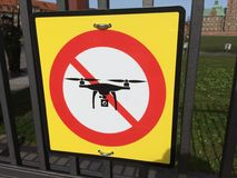 No Drones. Sign not allowing drones to fly stock photography