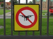 No drones sign. Regulatory signs, no drones with camera traffic sign - Copenhagen, Royal palace gardens Stock Photos