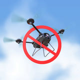 No drones sign. restricted fly zone, realistic 3d camera Drone hovering with red prohibited restriction   render. No drones sign. restricted fly zone, realistic Royalty Free Stock Photography