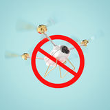 No drones sign. restricted fly zone, realistic 3d camera Drone hovering with red prohibited restriction   render Royalty Free Stock Images