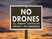 No Drones Sign with Sunset Sky Stock Images