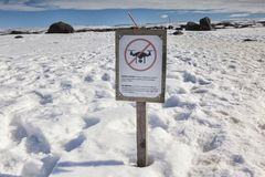 No Drones Sign Vatnajokull National Park Iceland. 12 April 2018: Vatnajokull National Park, Iceland - No Drones sign royalty free stock photography