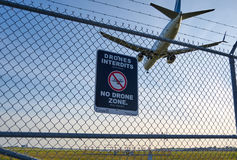 No drones zone sign and airplane Royalty Free Stock Photos