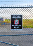 No drones zone sign. MONTREAL, CANADA - AUGUST 28, 2017 : No drones zone sign close to Montreal YUL airport stock photography