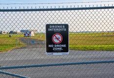 No drones zone sign. MONTREAL, CANADA - AUGUST 28, 2017 : No drones zone sign close to Montreal YUL airport stock image