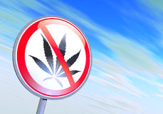 No drugs. Sign against the blue sky Stock Photos