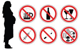 No drugs, alcohol, smoking cigarettes for pregnant woman, vector.  Stock Images