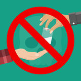 No drugs concept. Reject drugs offer. Hand with drugs and the sign ban. Vector illustration in flat style Royalty Free Stock Photography