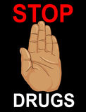 No Drugs. The hand shows a gesture of stop. Vector. Poster on a. Black  background Stock Photo