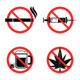 No Drugs Icons Set Royalty Free Stock Photography