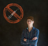 No drugs man on blackboard background Stock Photo