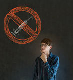 No drugs man on blackboard background Royalty Free Stock Images