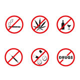 No drugs, no alcohol prohibition signs. Vector. Royalty Free Stock Photo