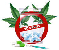 No drugs sign with marijuana leaves Royalty Free Stock Photo