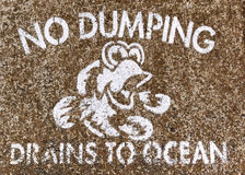 No dumping drains to ocean Stock Photo