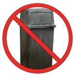 No dumping garbage. Garbage bin with no or don't symbol - no dumping Royalty Free Stock Photos