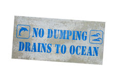 No dumping sign. No dumping drain to ocean sign isolated on white background royalty free stock photos