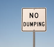 No Dumping Sign. And blue sky royalty free stock images