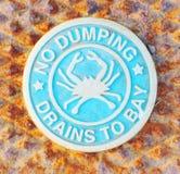 No dumping sign. Close up no dumping sign stock photo