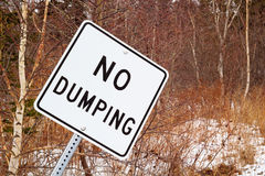 No Dumping Sign. In natural wooded area Royalty Free Stock Images
