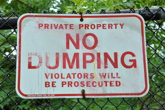 No Dumping sign Stock Images