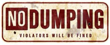 No Dumping Sign Vintage Grunge. Violators will be fined notice post warning tin metal stock photo