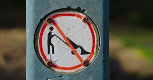 No dumping sign. On white background and red circle royalty free stock image