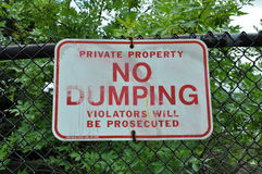 No Dumping signage Stock Photography