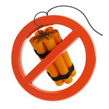 No dynamite. Mark against terrorism / no dynamite on a white background Stock Photos