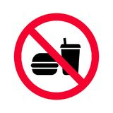 Red prohibition no food or drinks sign. No eating and drinking forbidden sing. No food or beverages icon stock illustration
