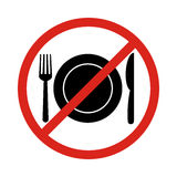 No eating vector sign,no food or drink allowed. Vector Royalty Free Stock Photography