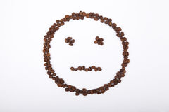 No emotion smiley of coffee. No emotion smiley laid out from coffee beans Stock Image