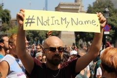 No en mi nombre Barcelona Foto de archivo libre de regalías
