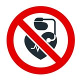 No entrance for people with cardiac pacemaker prohibitory sign. Ban sign stock illustration