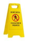 No entre, muestra amarilla en curso de la evacuación Fotos de archivo libres de regalías