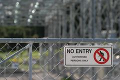 No Entry. Sign on switch yard at a power station Stock Images