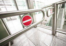 No entry. Security barrier at a mall near rome Stock Image
