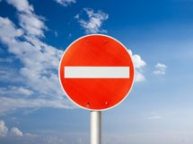 No entry. Traffic sign against blue sky stock image